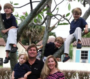 Mom, Dad and 4 little monkeys in a tree