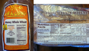 "Even though the bread on the right says ""100% whole wheat"" look at what else is in it! And High Fructose Corn Syrup is the THIRD ingredient!"