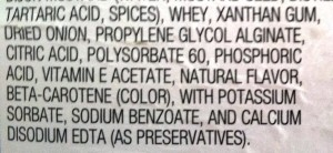 ingredients from a salad dressing label.  Would you like to pour  this on your healthy veggies?