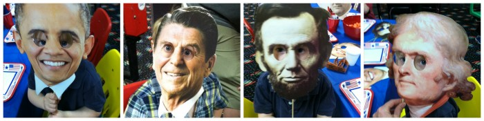 "The hysterical masks at Henry's ""Presidential Party"""
