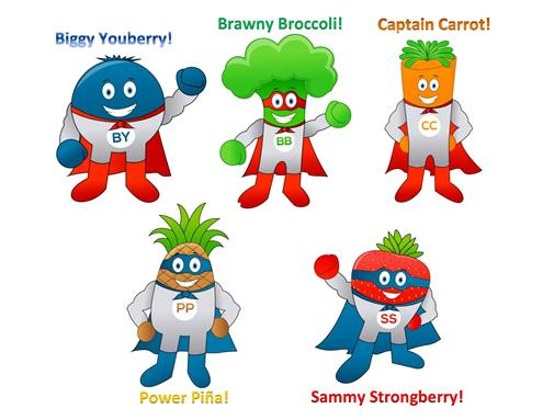 image of Super Hero fruits and veggies